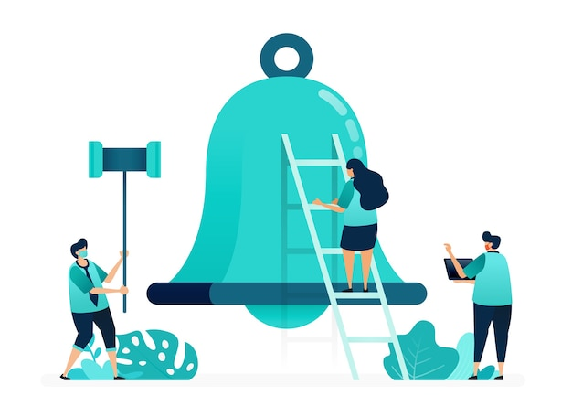 Vector illustration of alarm bells for notifications and apps. holding a hammer to hit the bells. group of women and men workers. designed for website, web, landing page, apps, ui ux, poster, flyer