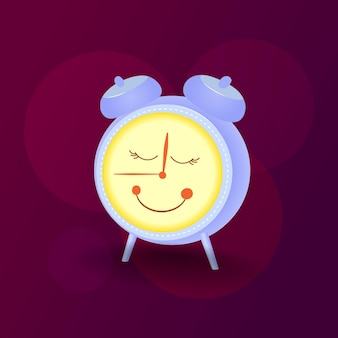 Vector illustration alarm clock character with cute face retro alarm clock on dark background
