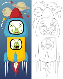 Vector illustration of aliens on rocket cartoon