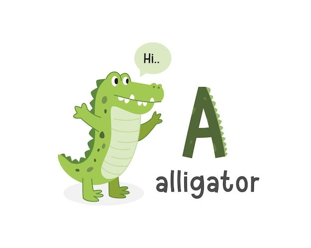 Vector illustration of alphabet letter a and alligator