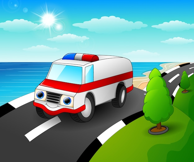 Vector illustration of ambulance car cartoon in the seaside road