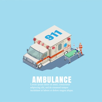 Vector illustration. ambulance with a doctor and a patient on a stretcher in isothermetric. the concept of insurance and health care of people. the first medical aid.