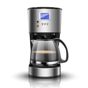 Vector illustration of american drip coffee machine. isolated coffee maker for filter coffee