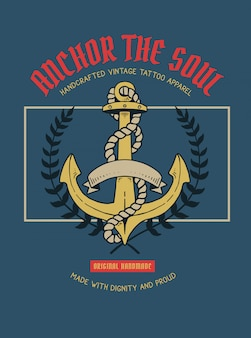 Vector illustration of anchor nautical tattoo