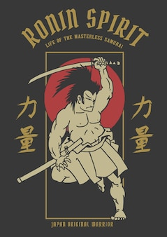 Vector illustration of ancient samurai warrior with japanese word means strength
