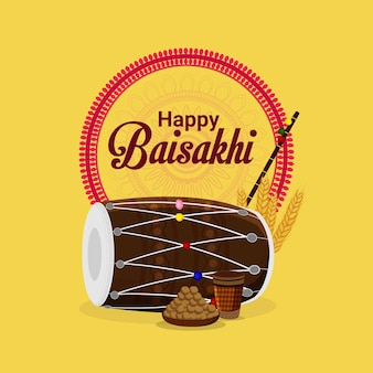 벡터 일러스트 레이 션 및 시크교 축제 행복 vaisakhi의 배경