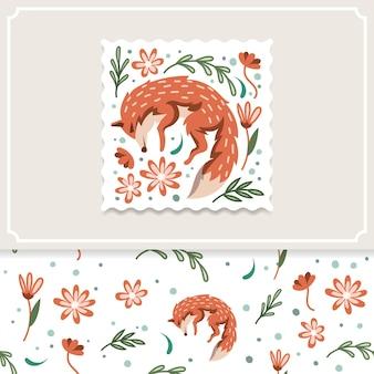 ベクトルイラストと赤狐と花のパターン