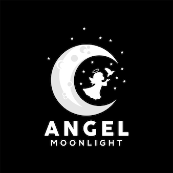 Vector illustration of an angel playing on the moon