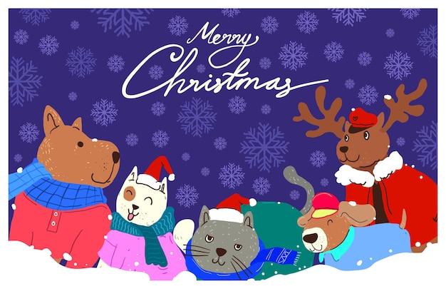 Векторная иллюстрация животных санта лапы рождественская вечеринка