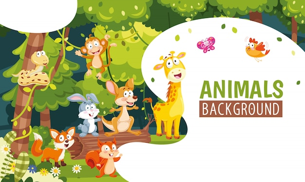 Vector illustration of animals background