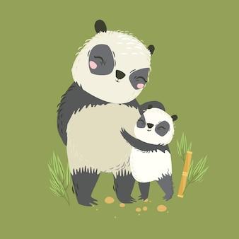 Vector illustration of animals. big panda mom and baby. lovely hug. mother's love. wild bear