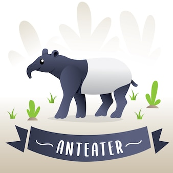 Vector illustration of an anteater. drawing animal for children, cartoon anteater - vector illustration