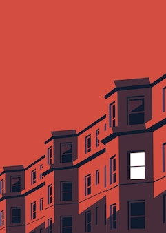 Vector illustration of an apartment building at night with one bedroom light on