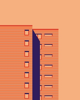 Vector illustration of apartment building scene background