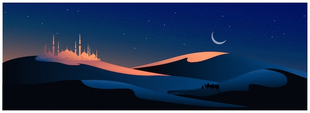Vector illustration of the arabian journey with camels through the desert with mosque,