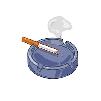 Vector illustration of an ashtray with a cigarette on a white isolated background.