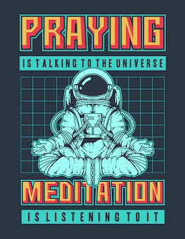 Vector illustration of an astronaut doing meditation in space with retro 90s colors and space.