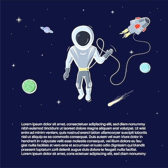 Vector illustration of astronaut floating in space. planet exploration concept