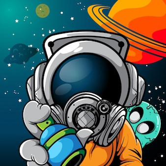 Vector illustration of astronaut with spray paint and little monster in the back