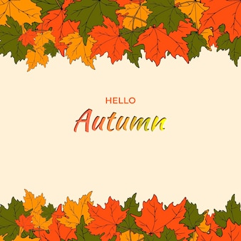 Vector illustration of an autumn banner with the inscription
