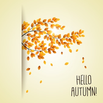 Vector illustration of autumn branch with falling leaves