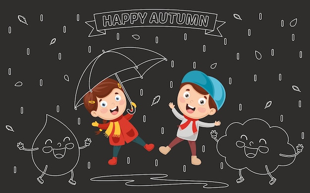 Vector illustration of autumn children