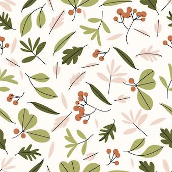 ベクトルイラスト-葉、枝、草、ベリーと秋のシームレスなパターン。ベクトルの背景とモダンなテクスチャ。