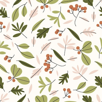 Vector illustration - autumn seamless pattern with leaves, branches, grass, berries. vector background and modern textures.