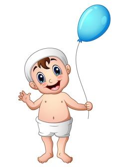 Vector illustration of baby boy waving