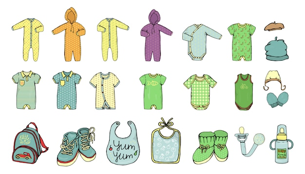 Vector illustration of baby clothes. baby boy clothes set.