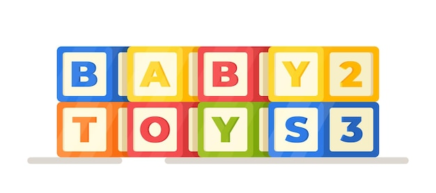 Vector illustration of baby toys. cubes with letters and numbers isolated on white background. bright and colorful developing cubes