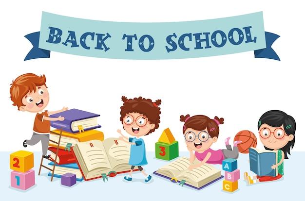 Vector illustration of back to school children