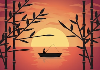 Vector illustration background fisherman on the boat