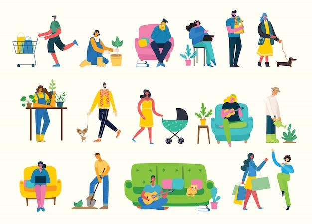 さまざまな活動をしているグループの人々のフラットなデザインのベクトルイラスト背景
