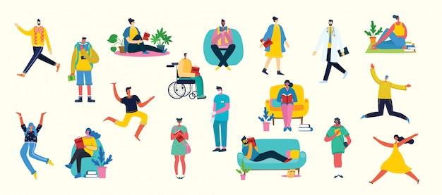 Векторная иллюстрация фон в плоском дизайне группы людей, занимающихся различной деятельностью