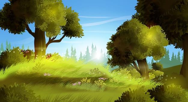 現実的な夏の風景のベクトルイラスト背景。