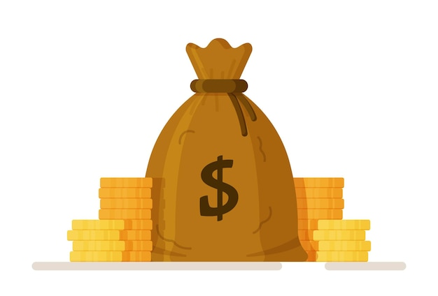 Vector illustration of a bag of cents money bag stack of dollar coins and bills