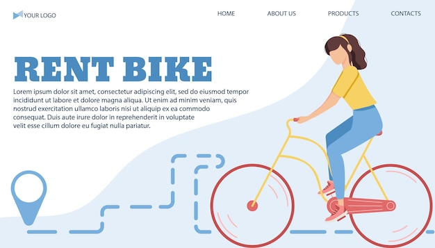 플랫 스타일의 도시에서 자전거를 대여하기 위한 벡터 일러스트 레이 션 배너 템플릿