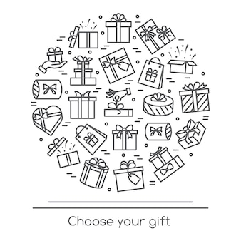 Vector illustration banner with wrapped and decorated gift boxes pictograms with editable