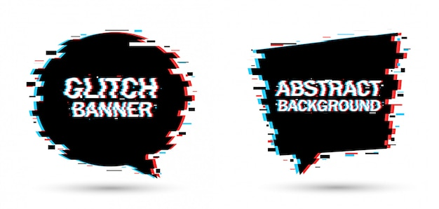 Vector illustration of banners in glitch effect.
