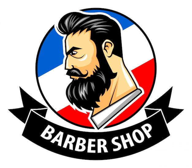 Vector illustration of barbershop with ribbon logo