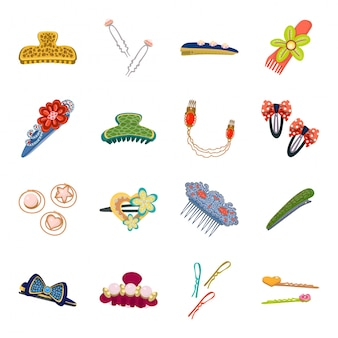 Vector illustration of barrette and hair sign. set of barrette and accessories stock vector illustration.