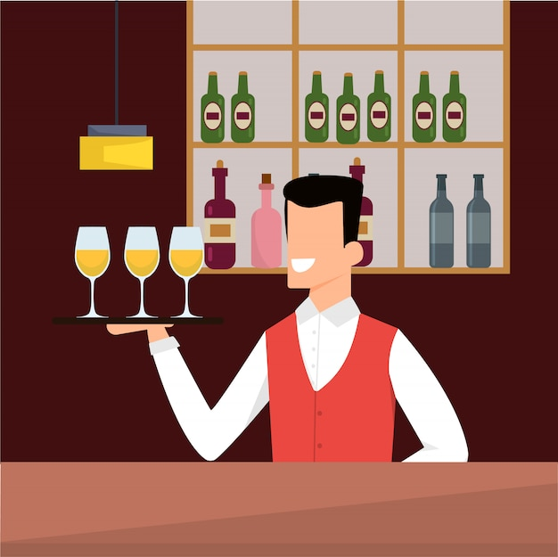 Vector illustration bartender at casino cartoon.