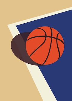 Vector illustration of basketball on the court