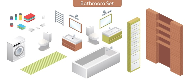Vector illustration of bathroom modern interior furniture set. plumbing for in bathing room. isometric view of bath, washing machine, toilet bowl, mirrors, shelves, towels, home decor isolated objects