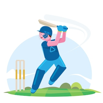 Vector illustration of batsman playing cricket championship.