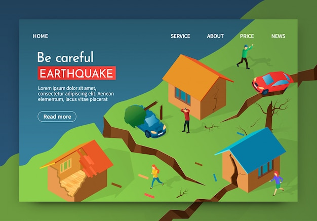 Vector illustration be careful earthquake banner.