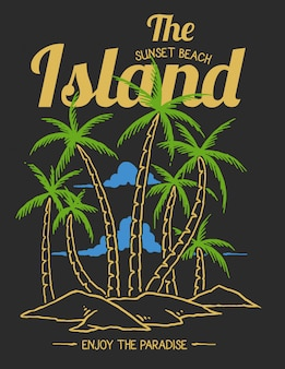 Vector illustration of beach tropical island