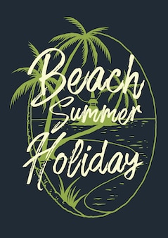 Vector illustration of beach tropical landscape