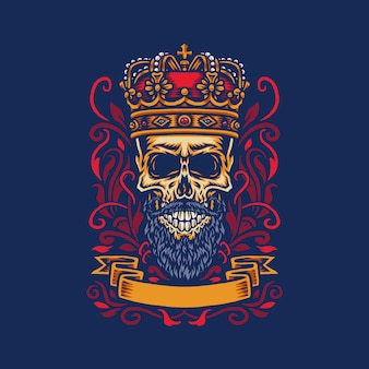 Vector illustration of a bearded skull wearing a king's crown